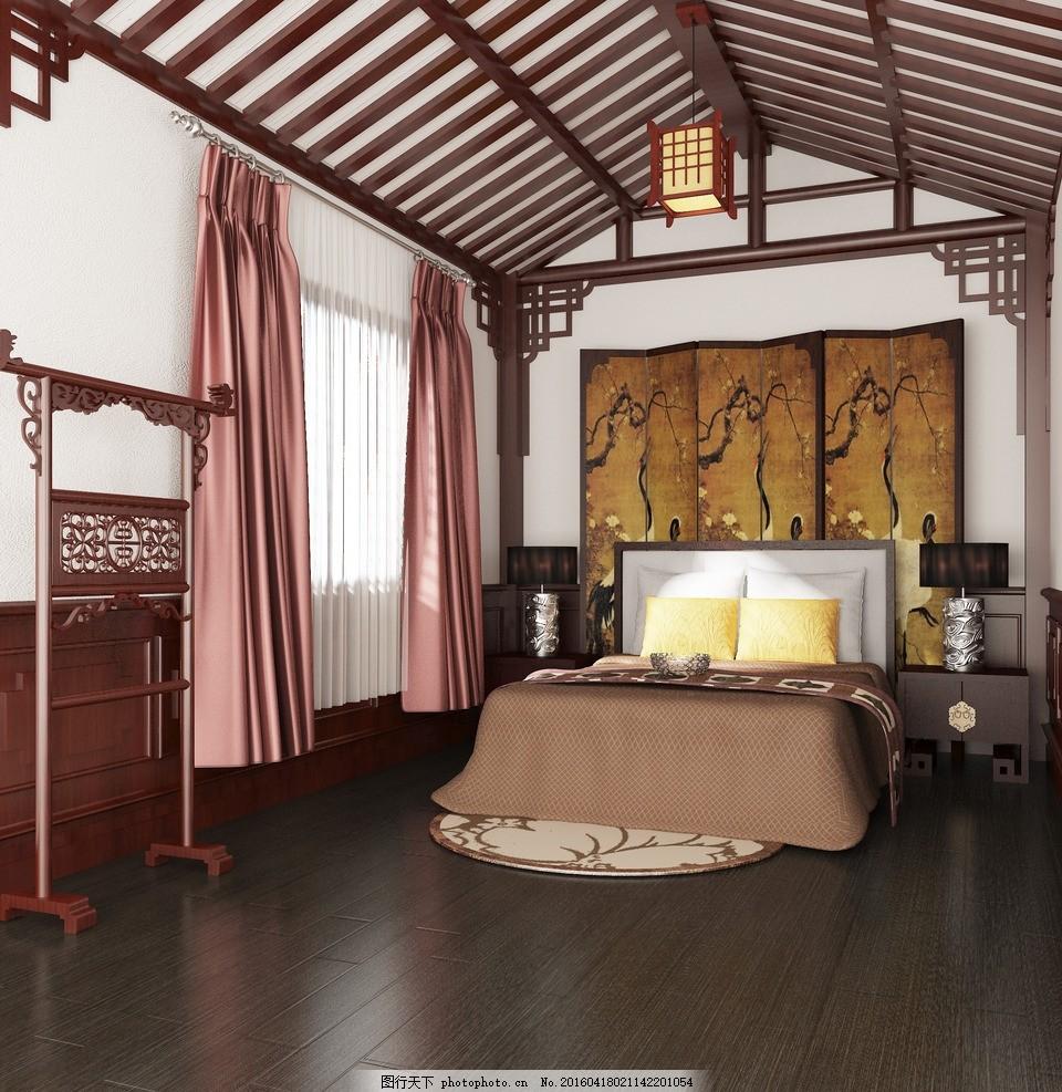 中式卧室效果图 家装 别墅室内 川西风格