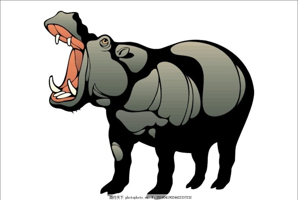 河马 河马素材 矢量河马 野生河马 野兽 凶猛 凶猛动物 动物 设计