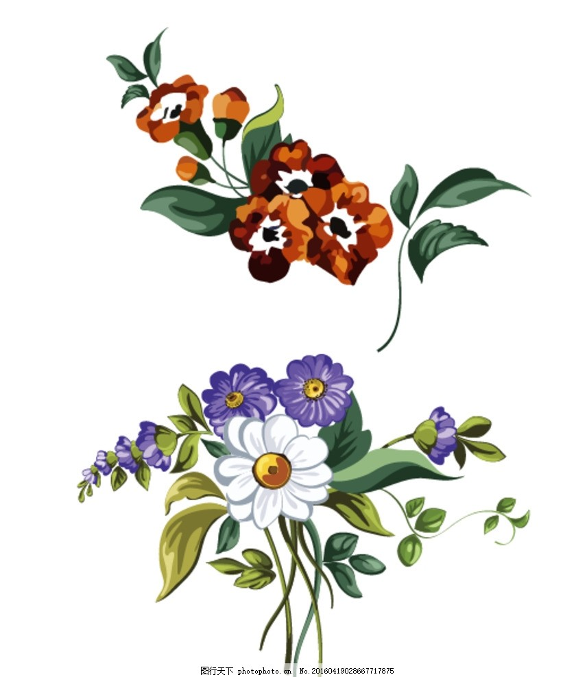 鲜花花束 花藤 花 花卉 手绘花朵素材 矢量花朵 矢量素材 各种花朵