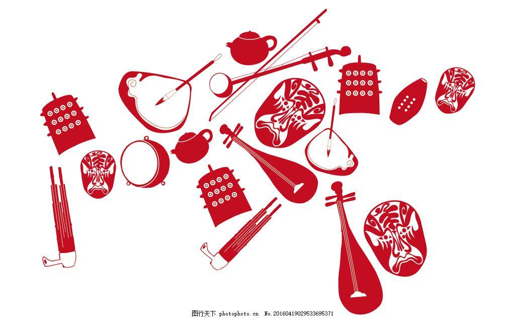 戏曲用品 戏曲 剪影 剪纸 底纹 琵琶 脸谱 鼓 乐器 传统 书法 茶壶