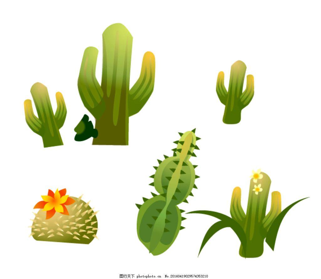 矢量仙人掌 素材 卡通仙人掌 矢量盆栽 卡通植物 图标 仙人球 矢量图