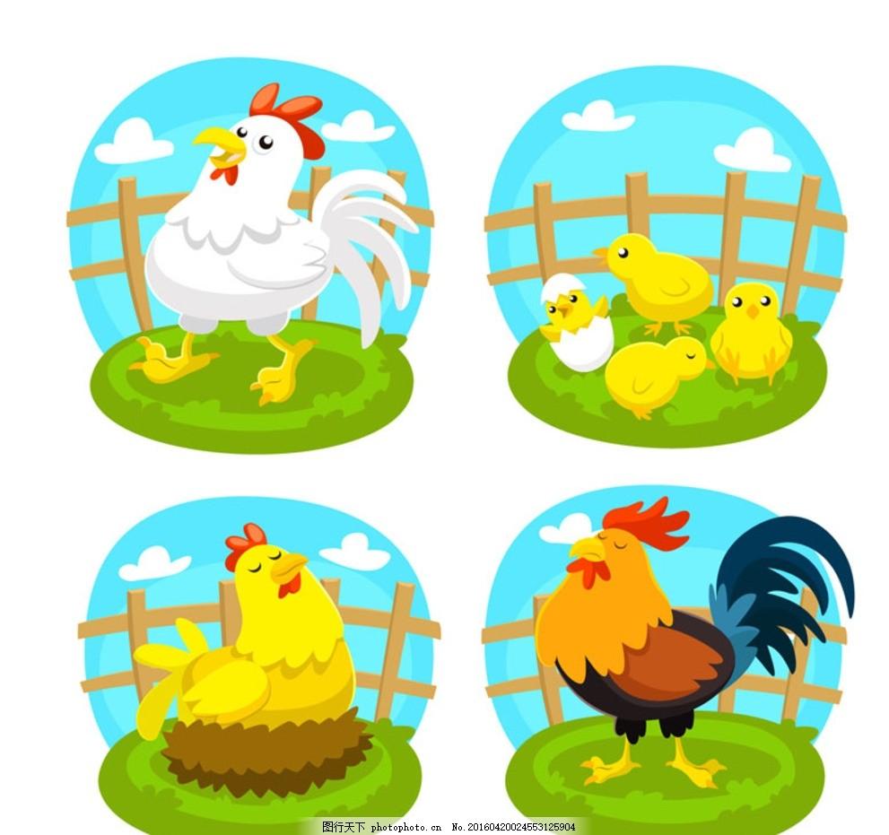 可爱农场鸡 母鸡 小鸡 公鸡 栅栏 云朵 动物 家禽 插画 背景