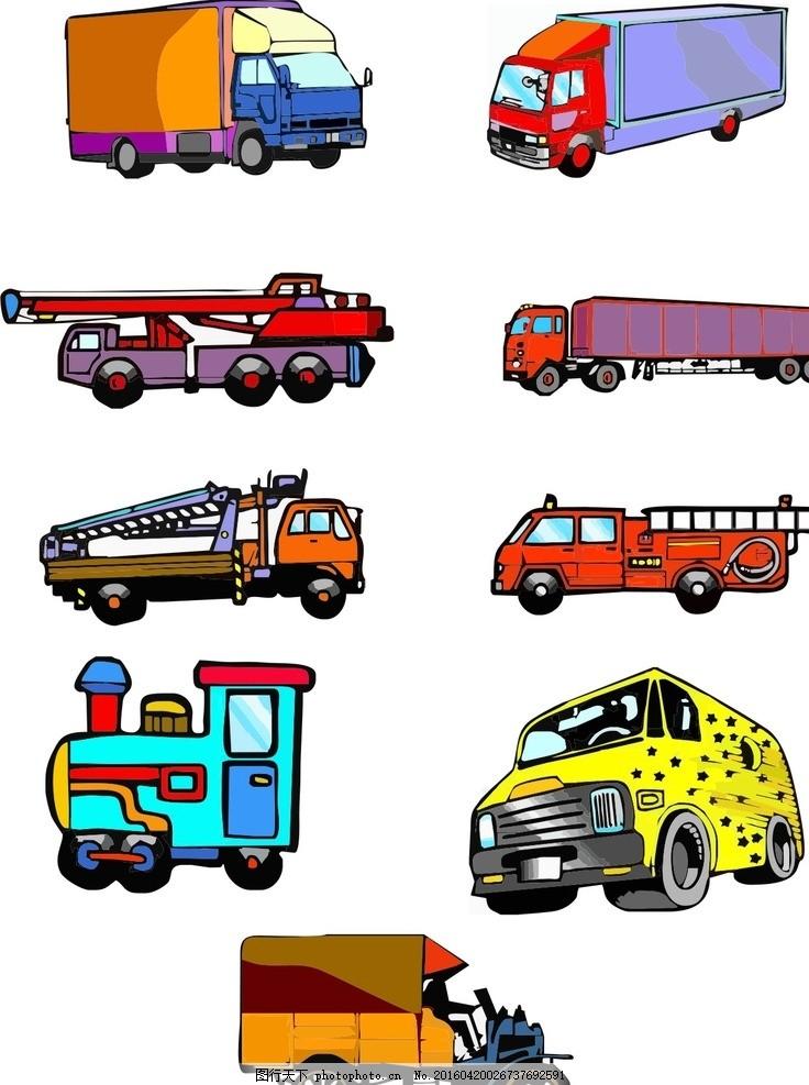 卡通货车 现代科技 设计素材 货车 三轮车 工程车 吊车 卡通 简笔画