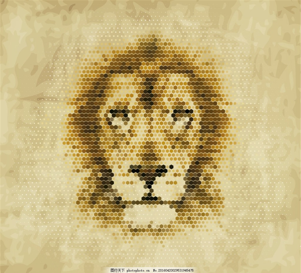创意狮子像素头像矢量素材 蜂窝形 六边形 动物 矢量图