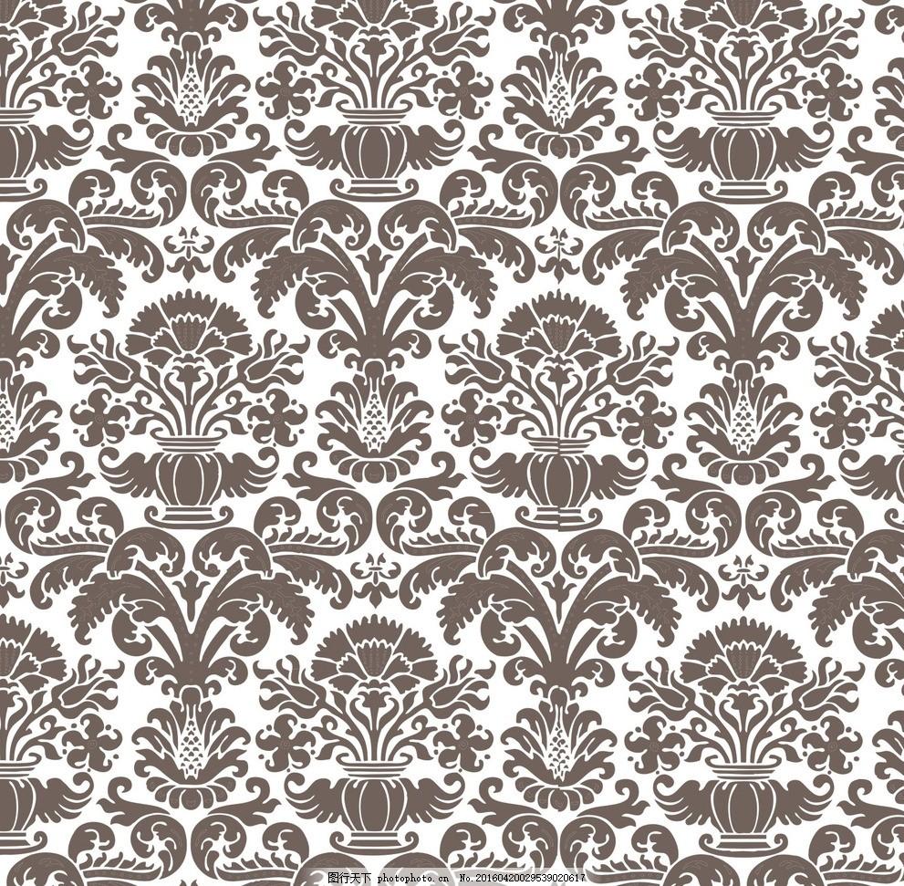 欧式花纹背景 四方连续 布纹 日式 花纹花边 平铺