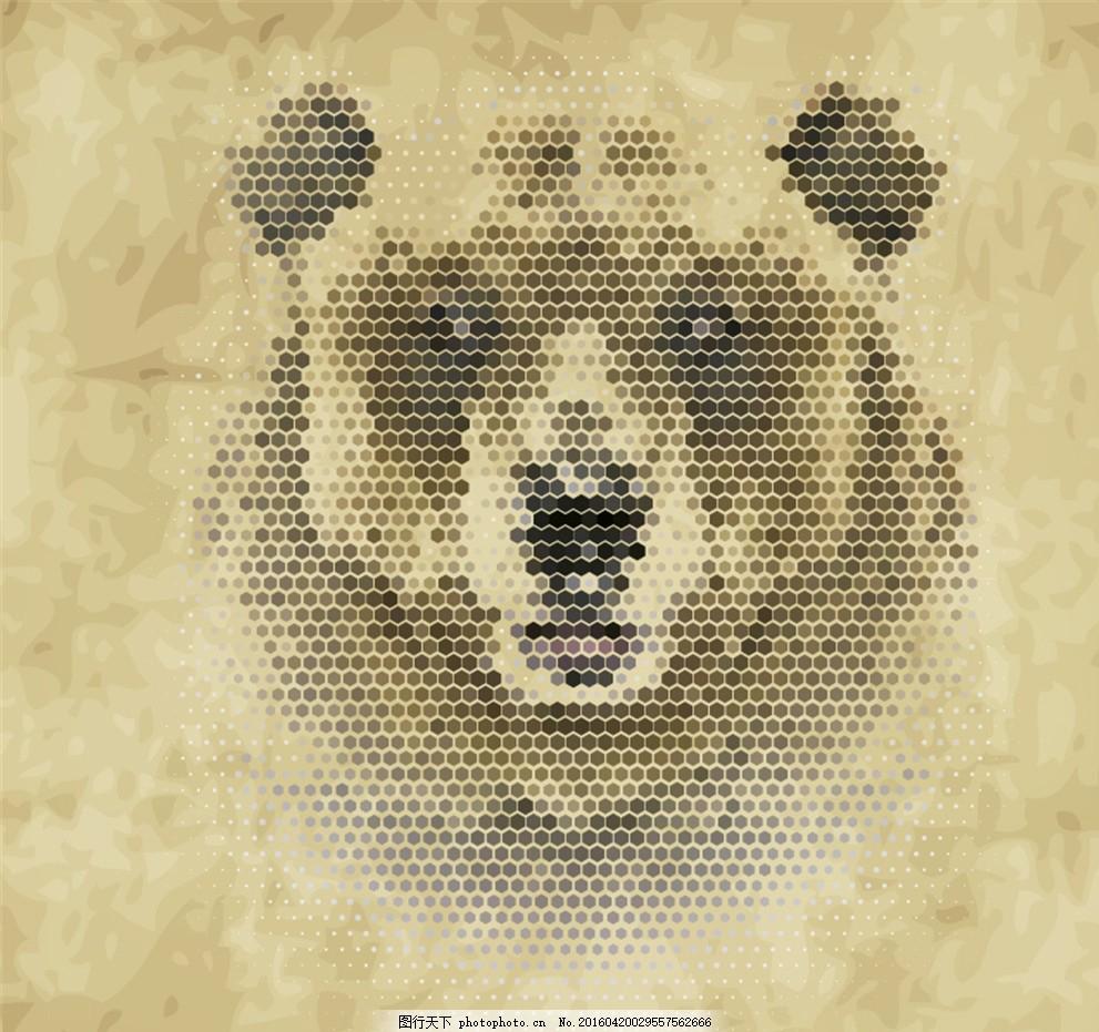 创意棕熊头像矢量素材 六边形 动物 蜂窝形 矢量图
