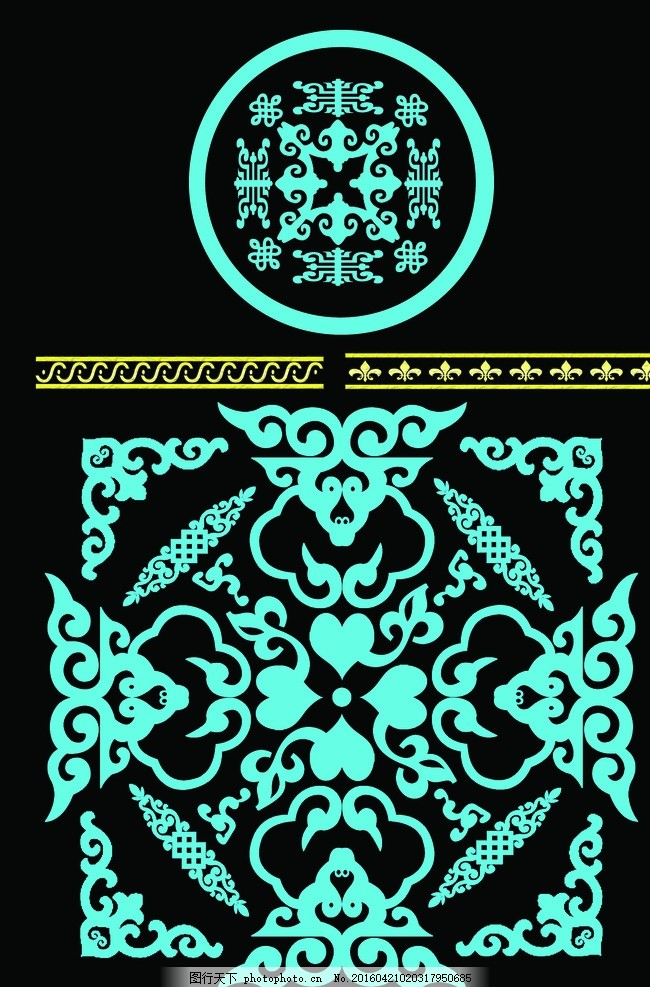 psd 蓝色花纹 桌布 蒙古包花纹 圆形花纹 源文件 设计 底纹边框 花边