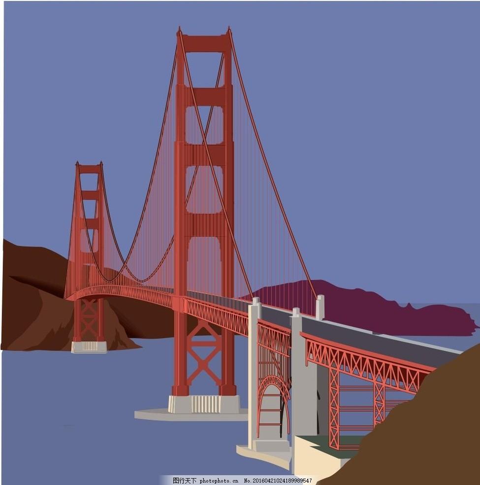 金门大桥 水 天空 旧金山 桥梁 建筑 矢量图 欧式 美国 俄罗斯