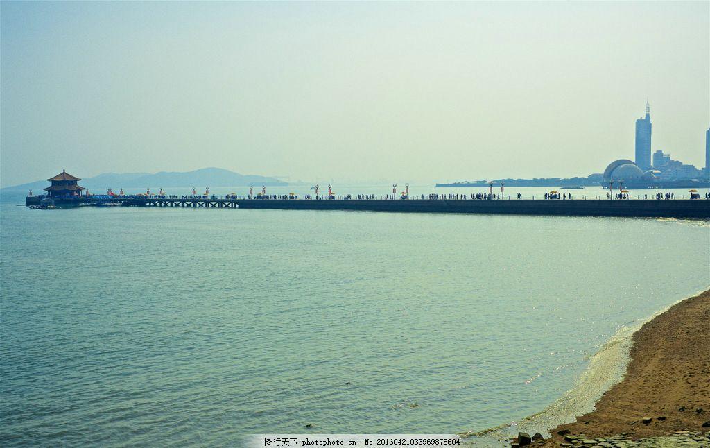 青岛栈桥 山东 海面 海岸 景点 城市景观 摄影 国内旅游
