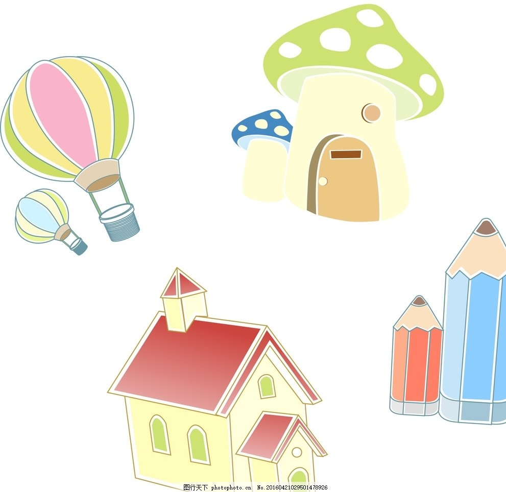 热气球 房子 铅笔 蘑菇,卡通素材 可爱 手绘素材-图行