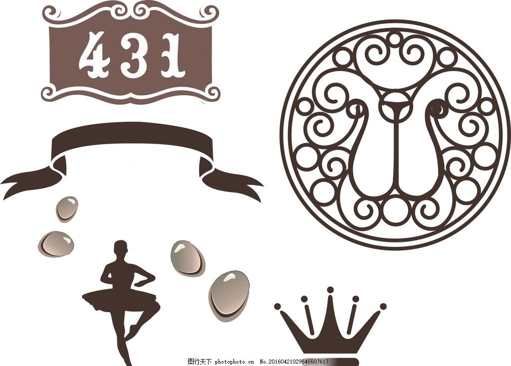 芭蕾人物 丝带 门牌 矢量素材 矢量 素材 欧式矢量素材 欧式素材 简约