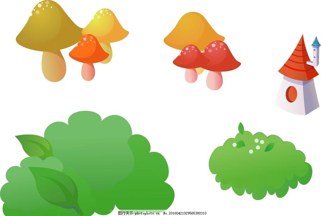蘑菇 房子 花草 卡通素材 可爱 素材 手绘素材 儿童素材 幼儿园素材