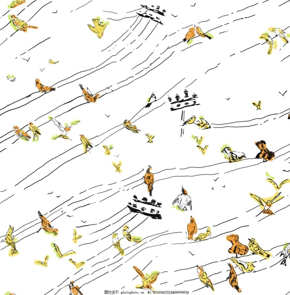 手绘小鸟 电线杆 水彩 卡通 动漫动画