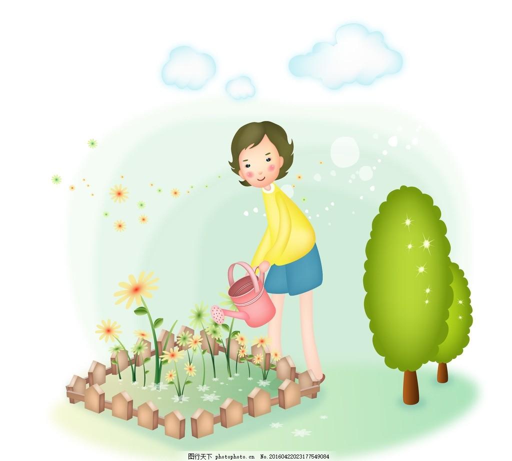 正在浇花的矢量卡通女性 矢量卡通女性 卡通女孩 浇花 浇水 洒水壶