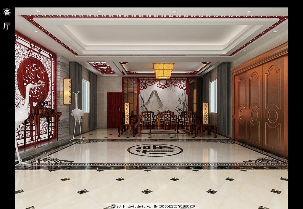 中式客厅 客厅背景墙 大理石画 造型茶镜 铜门 中式十件套 吊顶造型图片