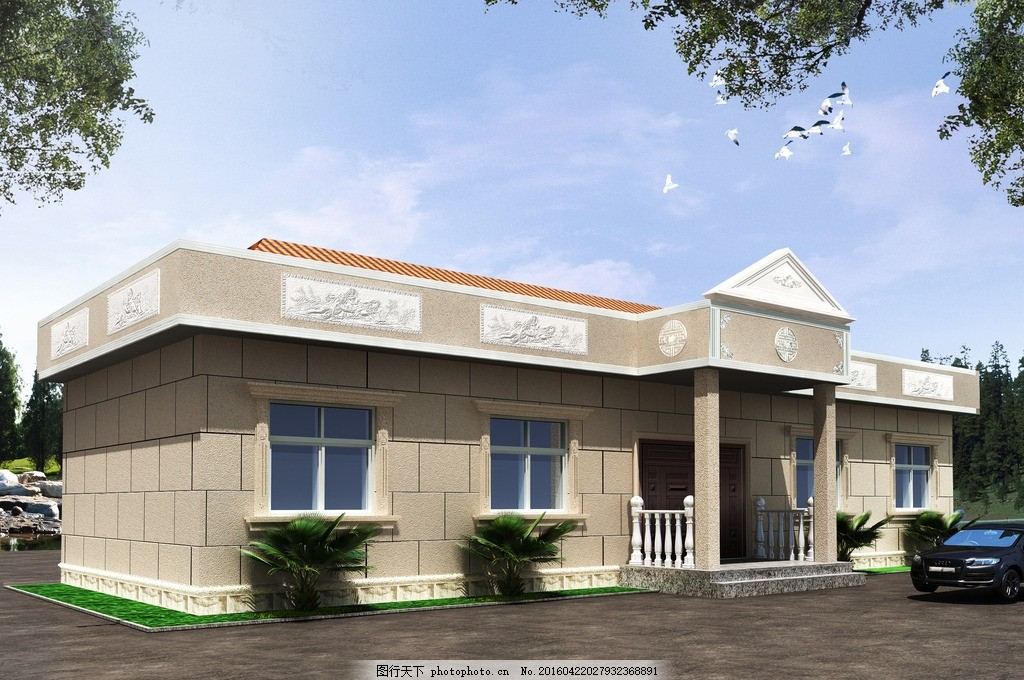 外墻效果圖 噴砂 壁畫 農村自建房 一層 簡歐 設計 環境設計 室內設計