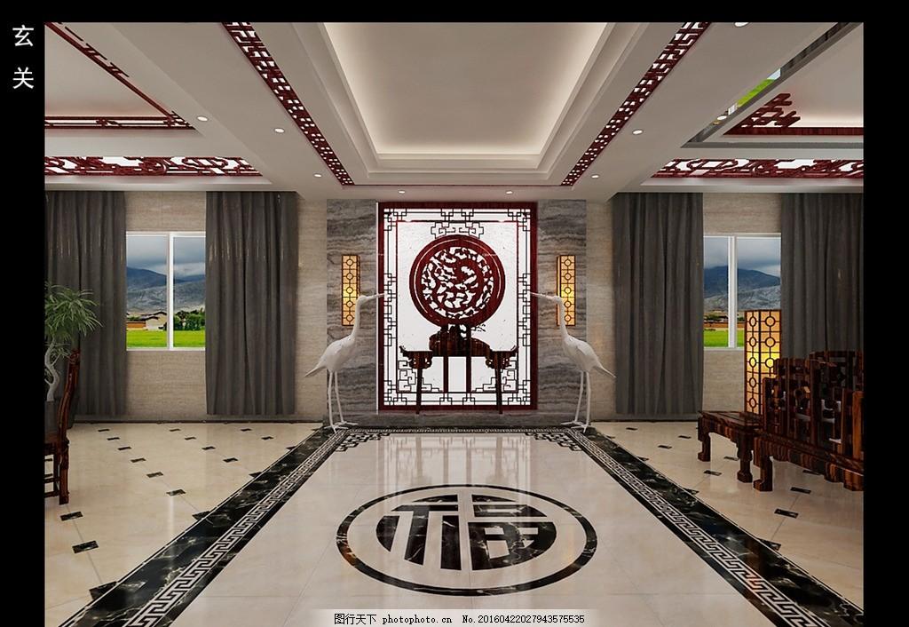 自建房 玄关 中式玄关 地面拼花 雕花版 吊顶 窗帘 仙鹤 设计 环境