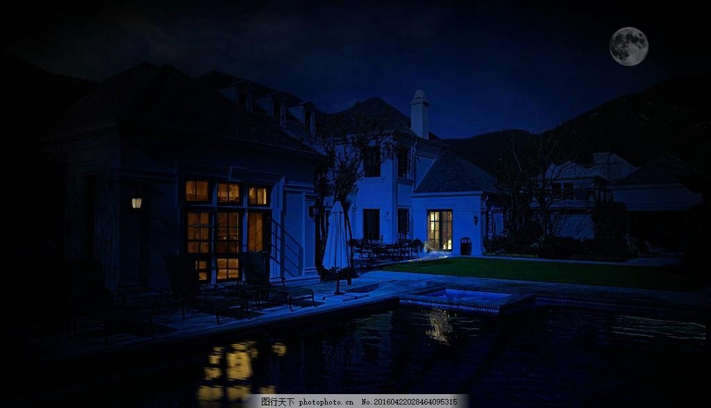 夜色 泳池 别墅 月亮 夜晚