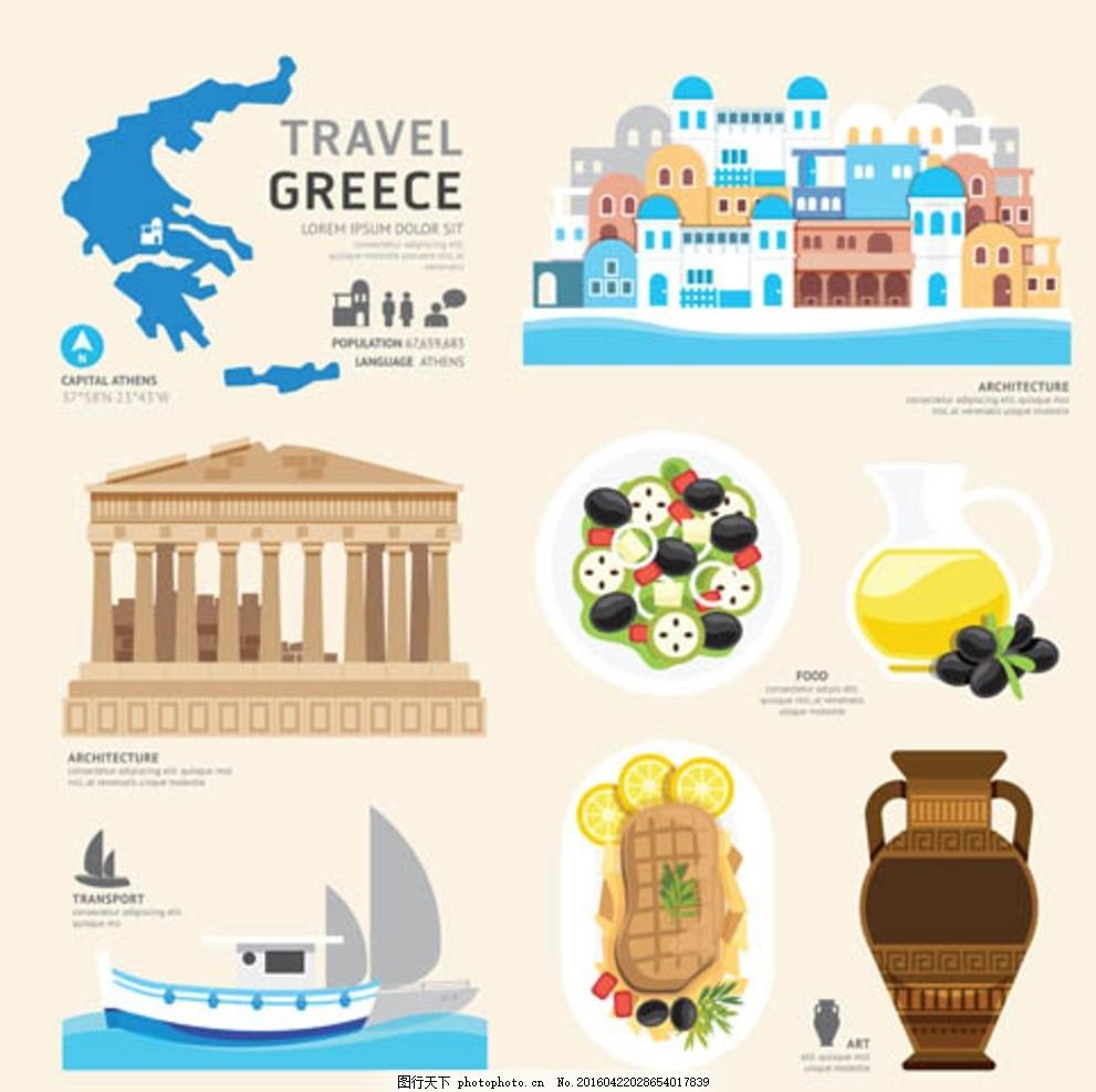 扁平化旅游元素设计 法国 韩国 加拿大 美国 日本 瑞士 泰国图片