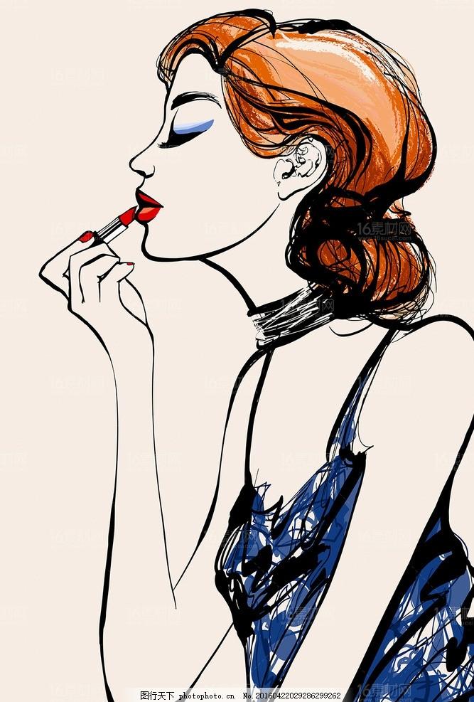 手绘化妆美女 插画模板下载 人物速写 肖像画 卡通美女 漫画矢量