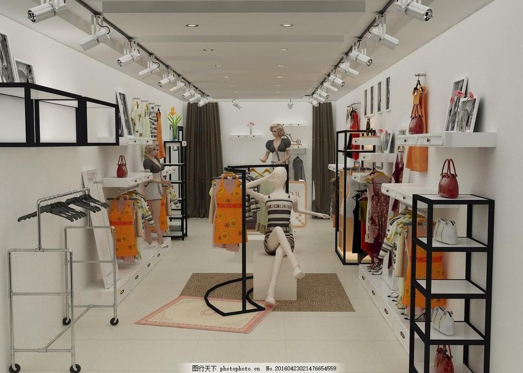 服装店效果图展柜设计 展示空间 服装展柜 矢量