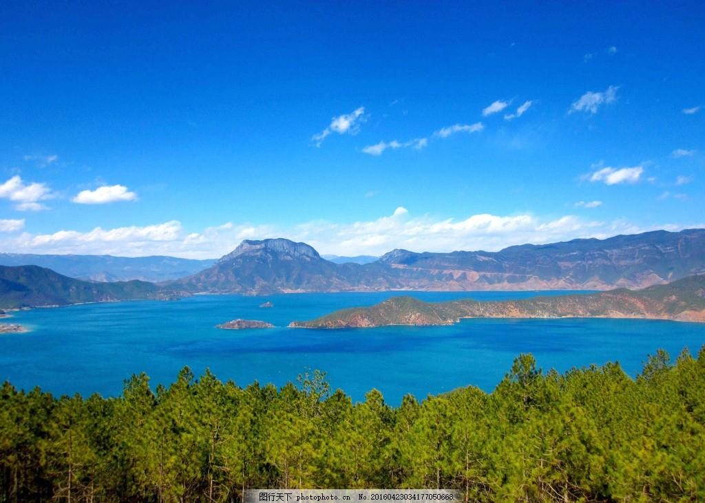 森林 湖泊 蓝天 白云 远山 自然风景 摄影 自然景观 自然风景 1dpi