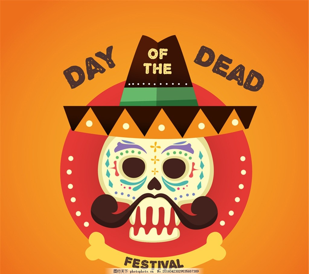 卡通墨西哥亡灵节海报矢量素材 骷髅 矢量图