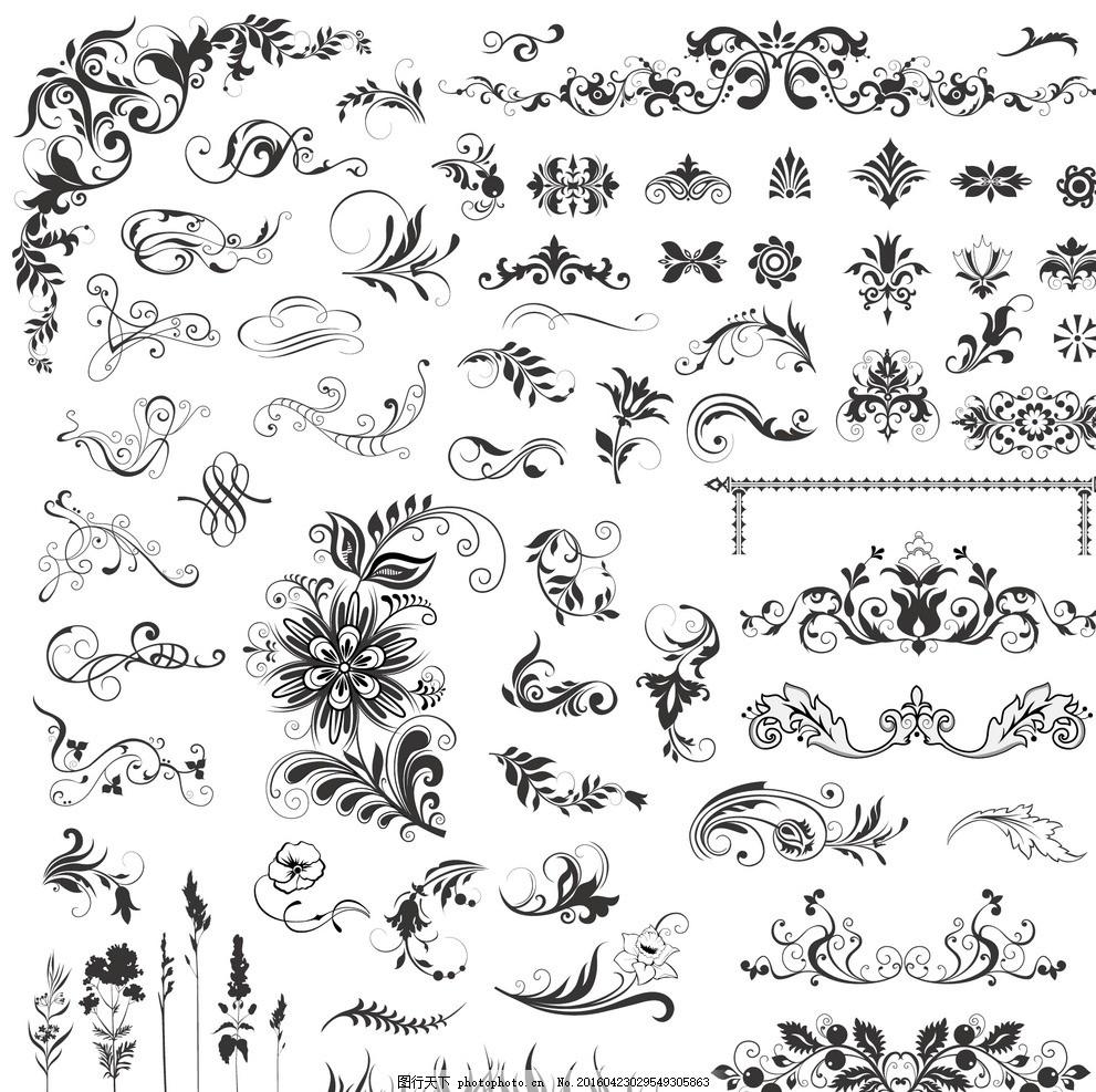 黑白花纹边框 装饰线条元素 欧式 花纹 欧式古典花纹 花藤 藤蔓 图案