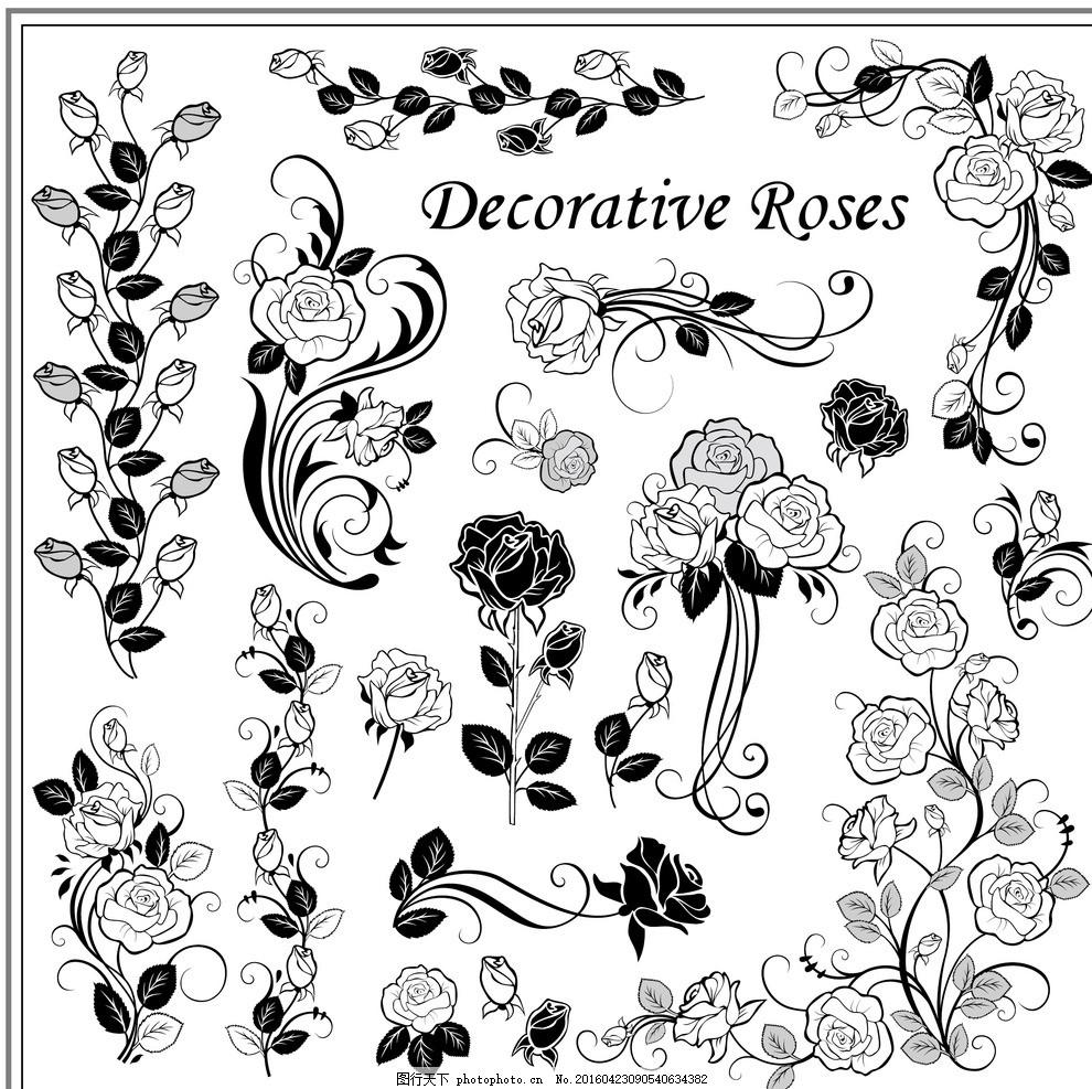 黑白玫瑰花纹