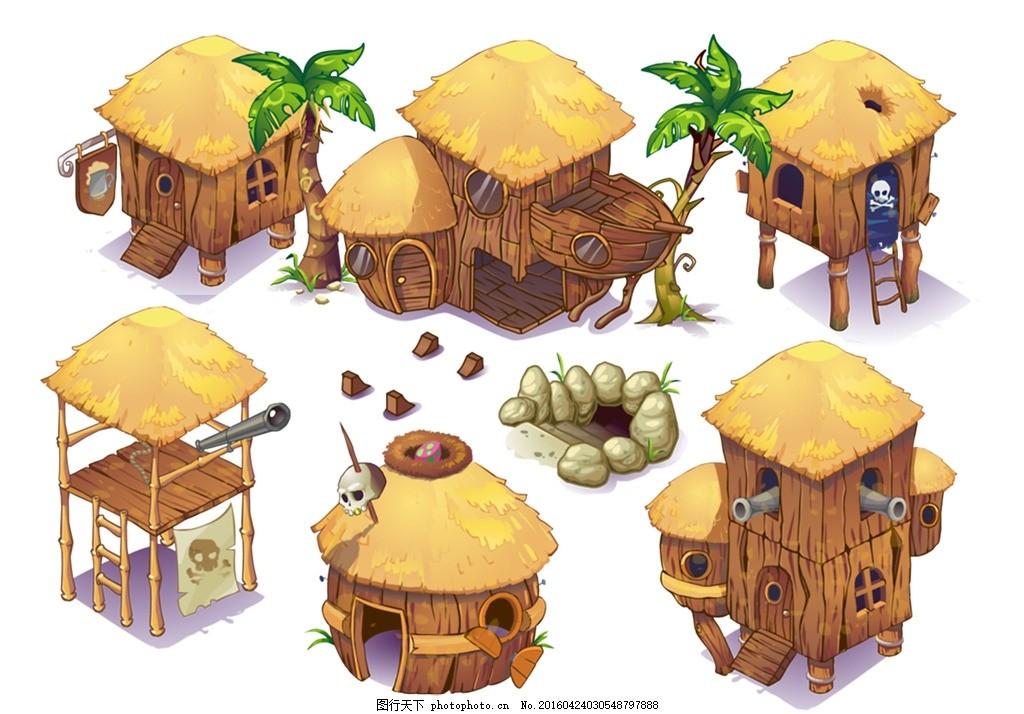 创意骷髅草屋 模版下载 卡通 漫画 屋子 小木屋 游戏场景 小房子 可爱