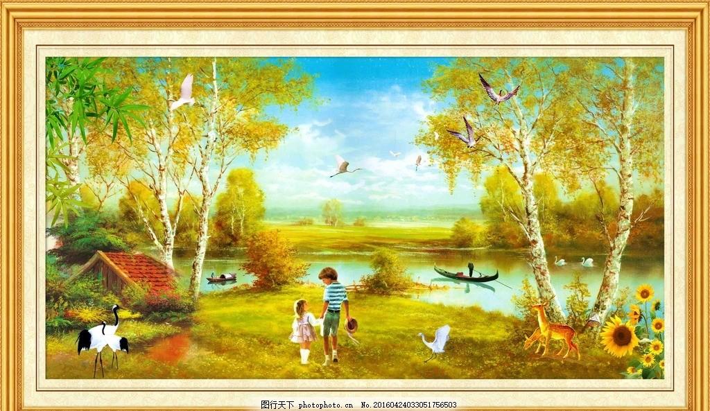 风景油画 油画树 小河 小船 小孩 丹顶鹤 麋鹿 向日葵 油画系列