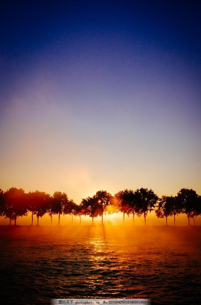 唯美树 树 剪影 逆光 夕阳 风景 素材 山水风景 摄影 自然景观 自然