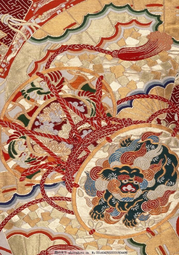 和风 花纹 松树 传统 素材 纹理 织布 金色 植物 花朵 设计 底纹边框