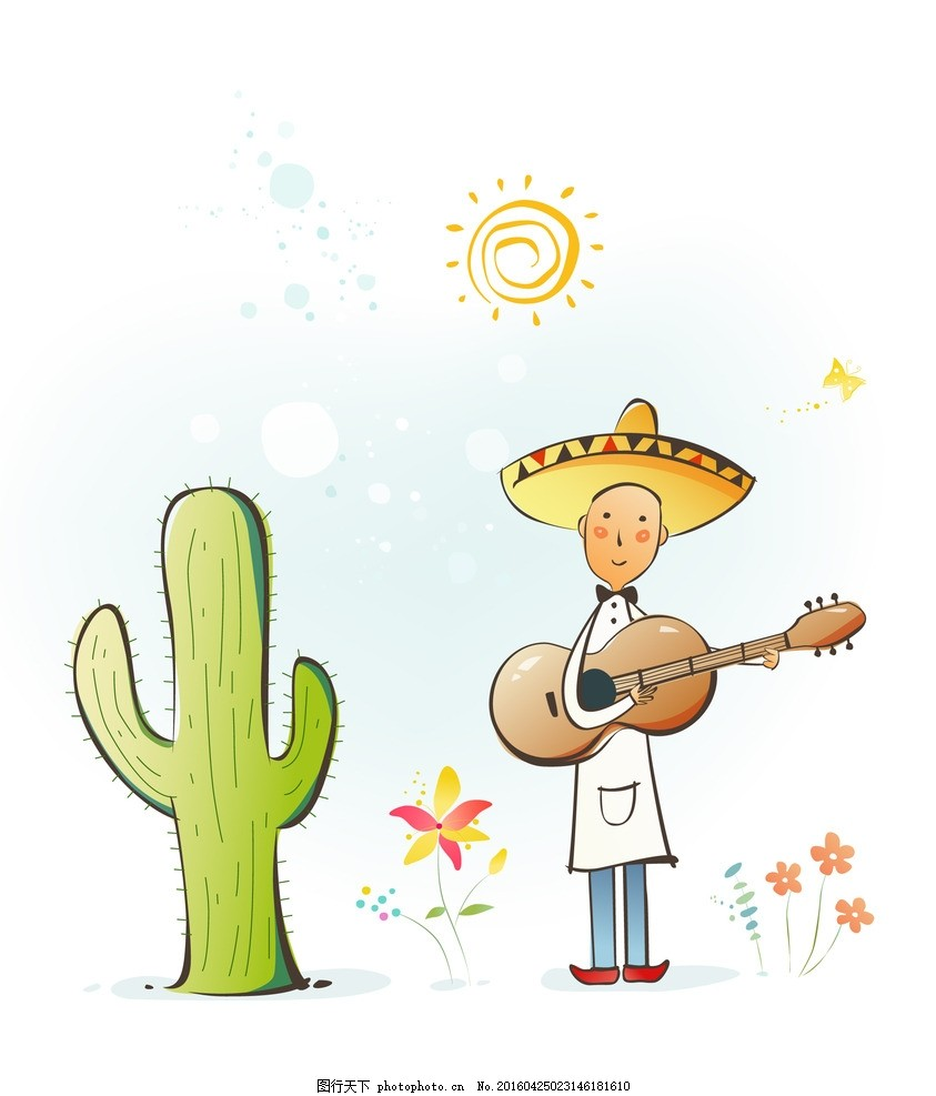 弹吉他的矢量卡通手绘男性