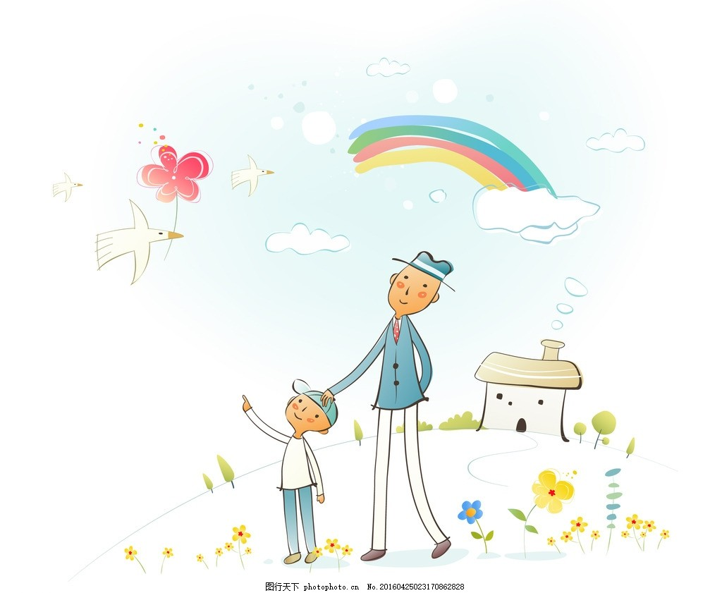 卡通手绘人物 矢量卡通人物 卡通男人 卡通男孩 彩虹 小鸟 鲜花 卡通