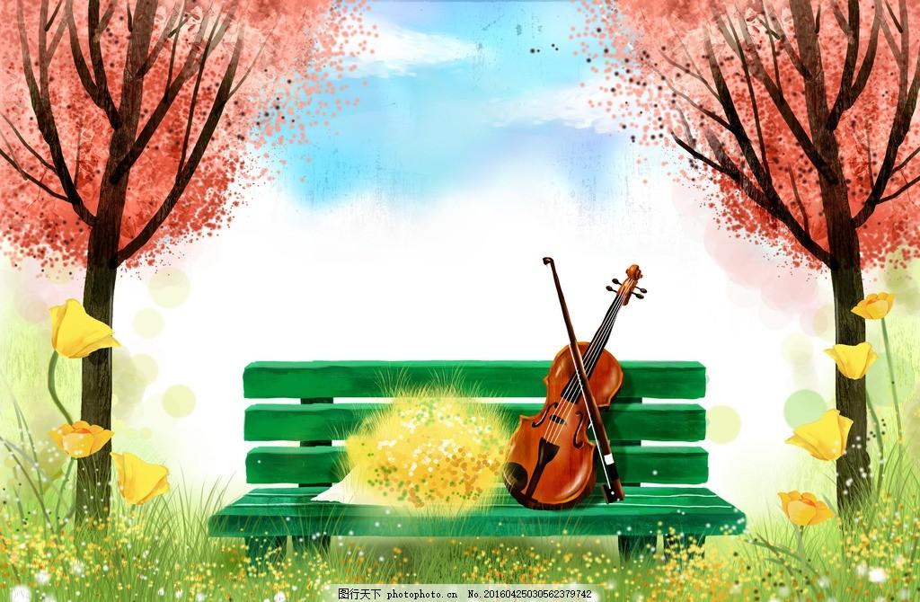 卡通插画 梦幻 卡通 浅色 唯美 风景 背景 树 花 草 长椅 吉他 云彩