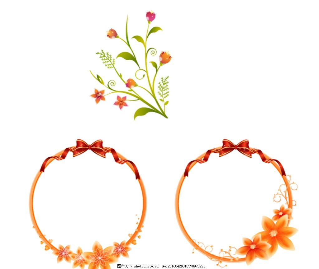 花朵 时尚 潮流 唯美 清新 手绘花卉 花藤花边 鲜花花藤 鲜花边框 花