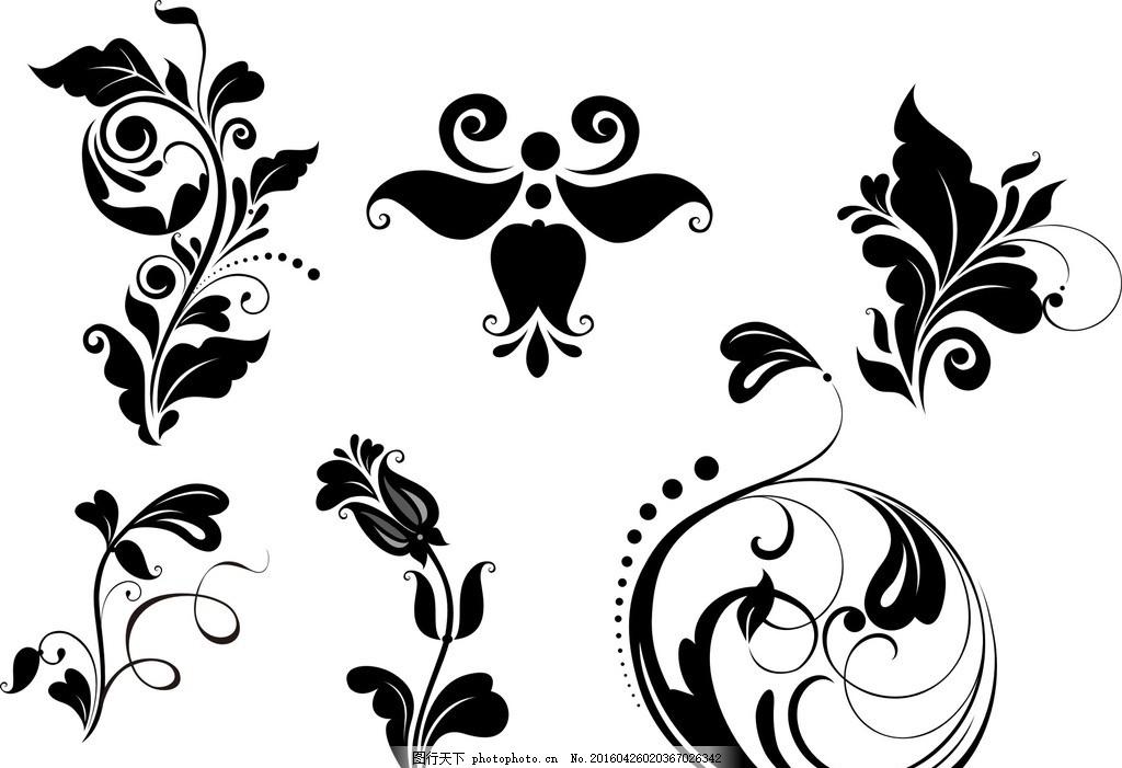 花朵 花纹 唯美 线条 婚礼花纹素材 矢量 欧式花纹 欧式装饰花纹