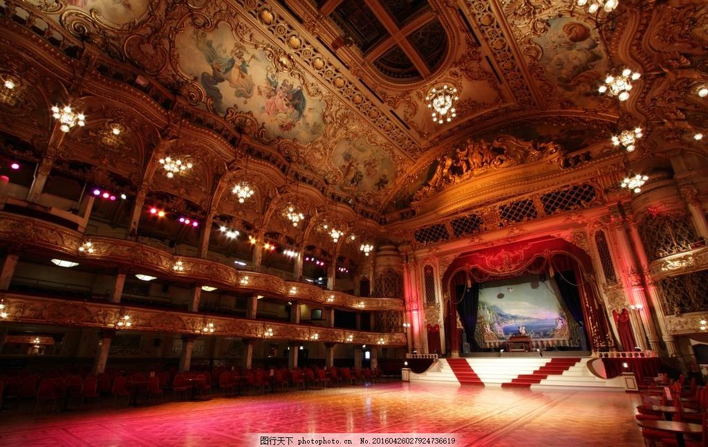 欧洲戏剧院 欧式戏剧院 宫廷教堂 表演台 屋顶建筑 红色 摄影 建筑