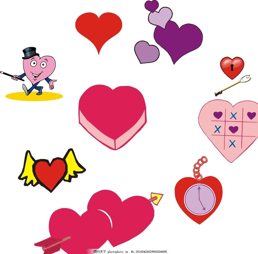 情人节素材 情人节 素材 心形大全 卡通心形 手绘心形 心形图案 心形