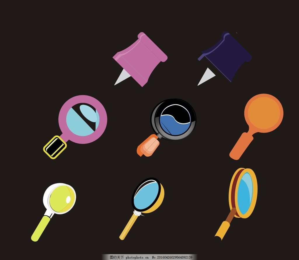图钉 放大镜 卡通素材 可爱 素材 手绘素材 儿童素材 幼儿园素材 卡通
