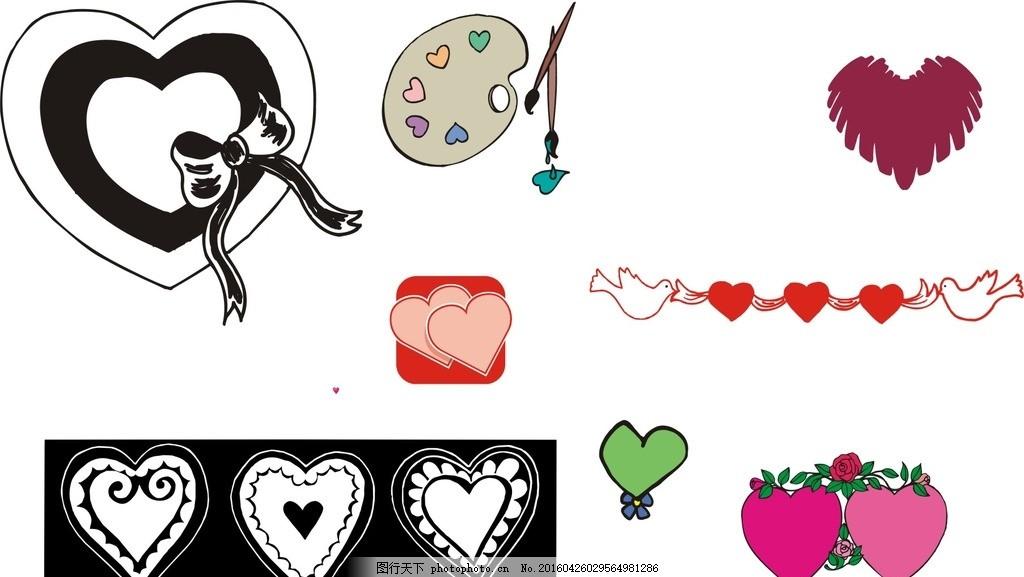 卡通心形素材 黑白心形 浪漫心形 桃心 矢量心形素材 矢量素材