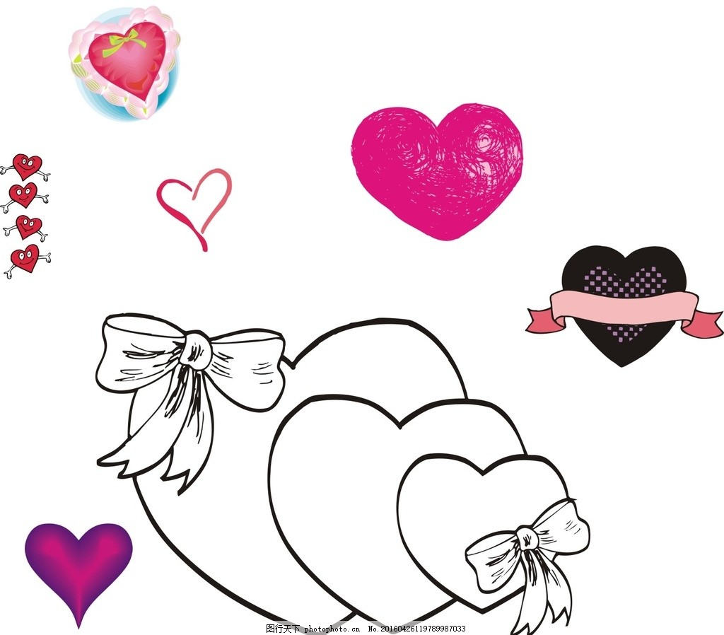 心形素材 丝带 蝴蝶结 浪漫心形 心形 桃心 矢量心形素材 矢量素材 情