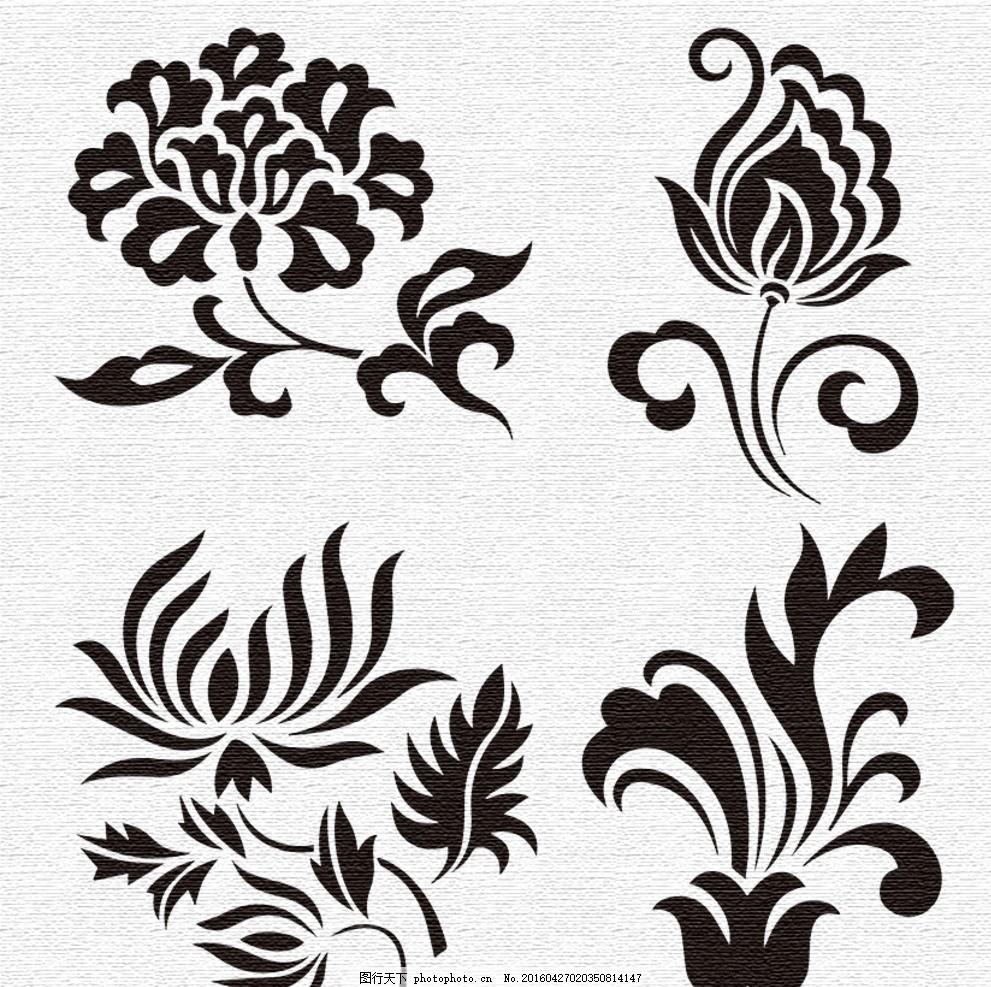 花卉 图案 黑白 抽象 花纹 菊花 t恤&amp 图案 设计 底纹边框 花边