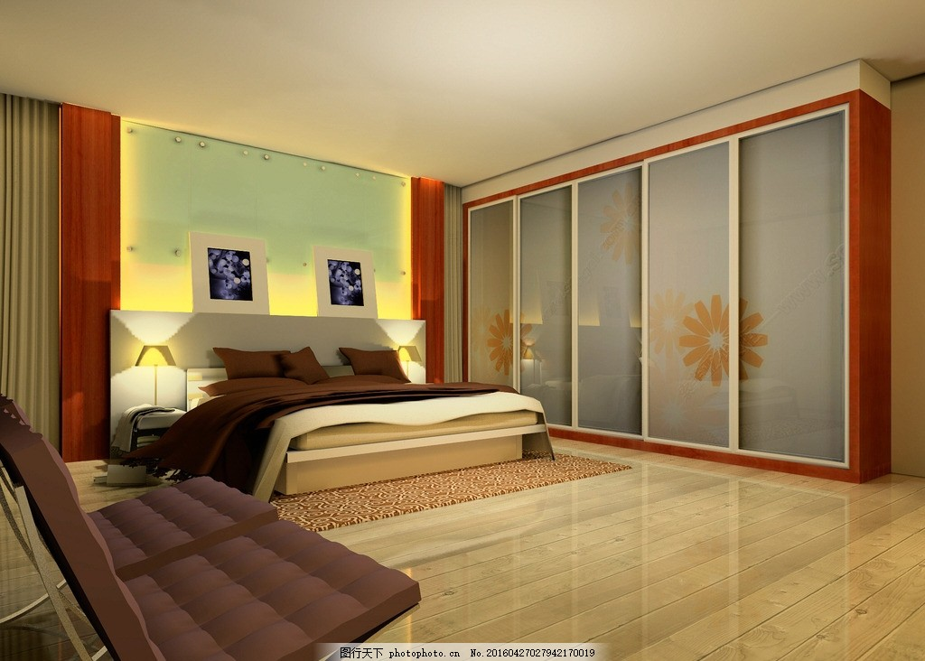 卧室效果图 主卧 房间 床头墙 衣柜