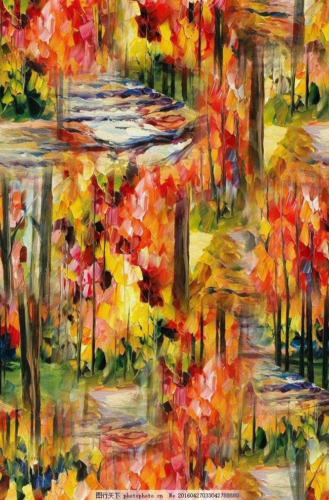 男装 服装 女装图案 油画 欧式油画 森林风景 油画印花 风景 山水画