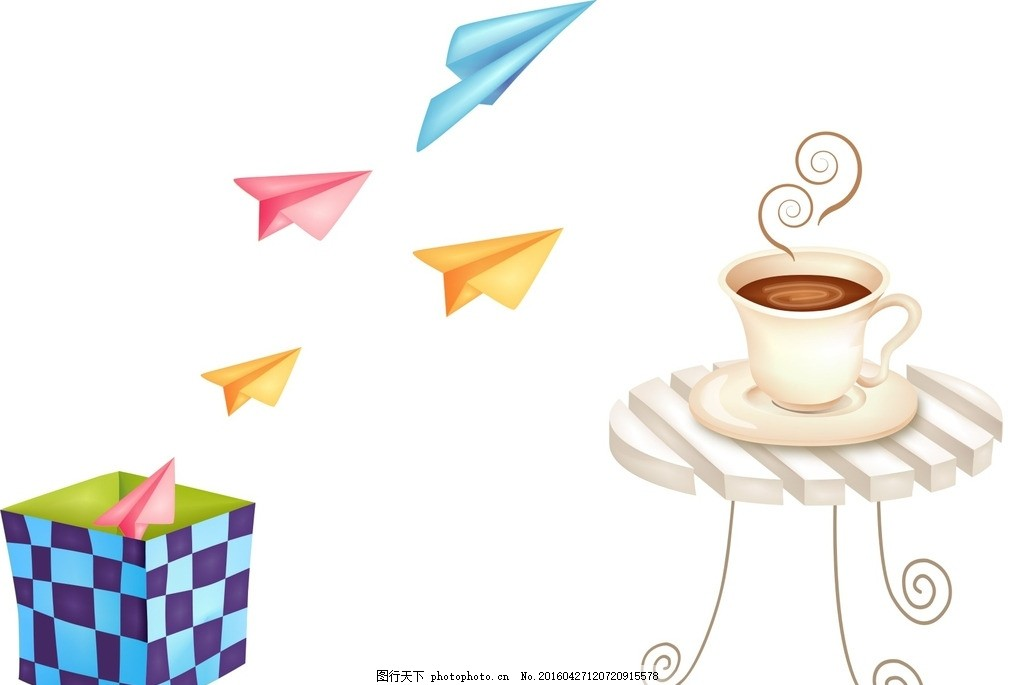 咖啡桌 纸飞机 卡通素材 可爱 素材 手绘素材 儿童素材 幼儿园素材