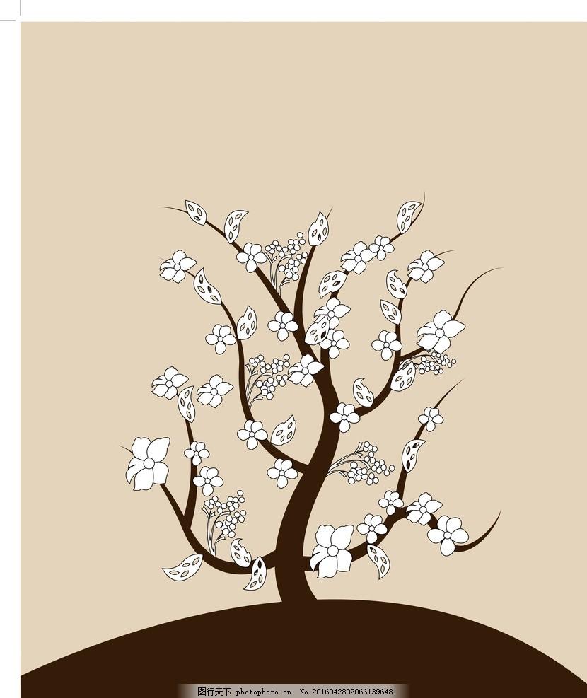 花树 手绘花树 白色花朵 矢量图 底纹 墙面设计 移门设计