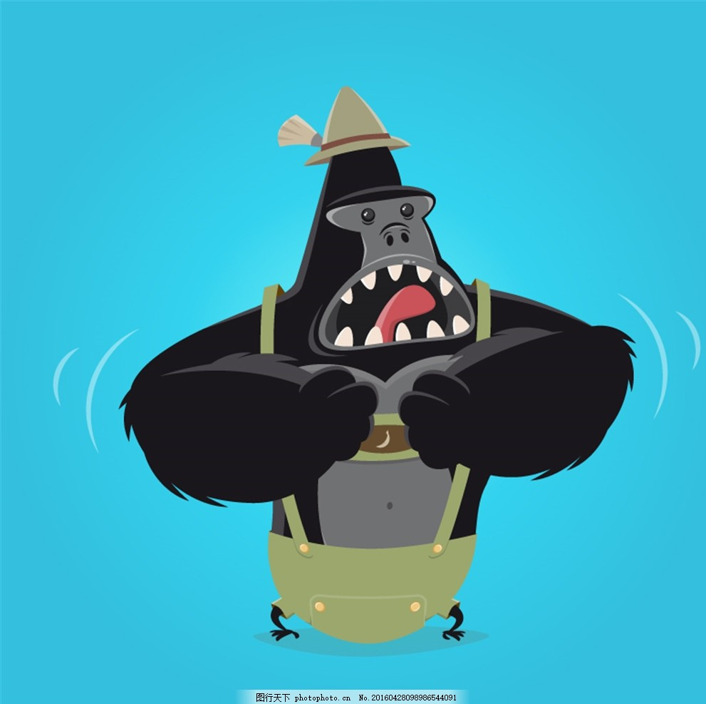 卡通捶胸大猩猩矢量素材 金刚猩猩 动物 野生动物 矢量图 广告设计