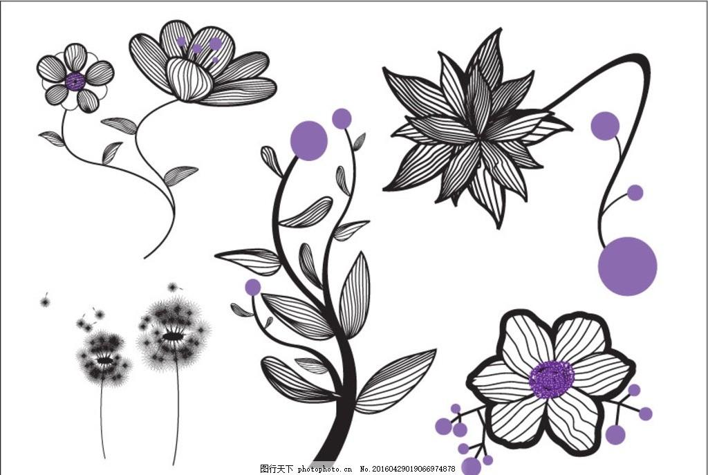 手绘花朵 手绘 钢笔画 花朵 儿童 线条画 矢量图 设计 文化艺术 绘画